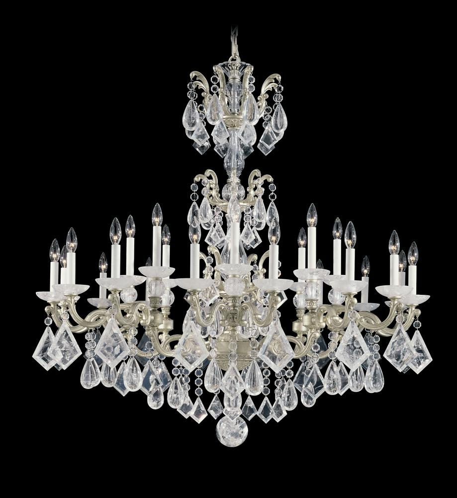La Scala Rock Crystal 24 Light 110V Chandelier In Antique Silver With Clear Rock  Crystal - La Scala Rock Crystal 24 Light 110V Chandelier In Antique Silver